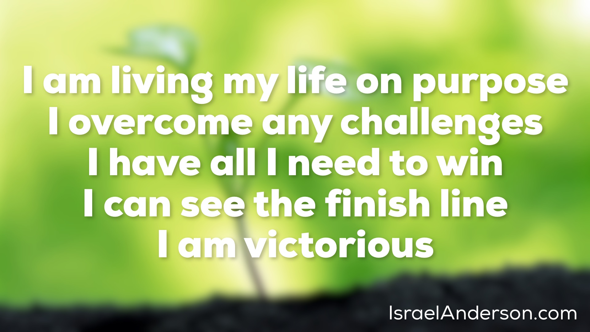 Iam living my life on purpose I overcome any challenges I have all I need to win I can see thefinish line I am victorious
